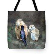 Prairie Dogs And A Bird Eating Tote Bag
