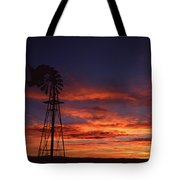 Prairie Sunset With Windmill Tote Bag