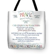 Praise Psalm 145 Tote Bag by Judy Dodds