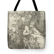 Praying Male Penitent In The Wilderness Tote Bag