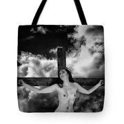 Praying On Cross Tote Bag