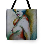 Pregnant Nude Tote Bag