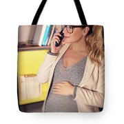 Pregnant Woman At Work Tote Bag