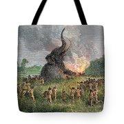 Prehistoric Mammoth Hunt Tote Bag