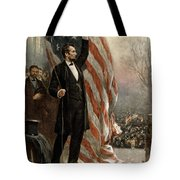 President Abraham Lincoln - American Flag Tote Bag