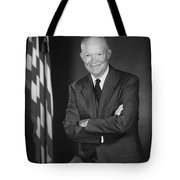 President Eisenhower And The U.s. Flag Tote Bag