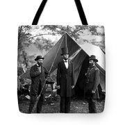 President Lincoln Meets With Generals After Victory At Antietam Tote Bag