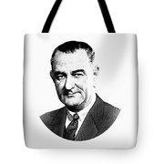 President Lyndon Johnson Graphic - Black And White Tote Bag