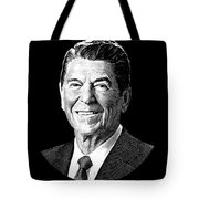 President Ronald Reagan Graphic - Black And White Tote Bag