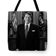President Ronald Reagan In The Oval Office Tote Bag