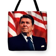 President Ronald Reagan Speaking - 1982 Tote Bag