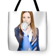 Pretty Business Woman Talking On Tin Can Phone Tote Bag