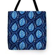 Pretty Decorative Blue Leaves Pattern Tote Bag
