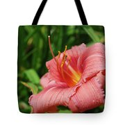Pretty Flowering Pink Lily In A Garden Tote Bag