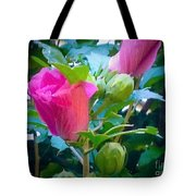 Pretty In Pink Hibiscus Flowers And Buds Tote Bag