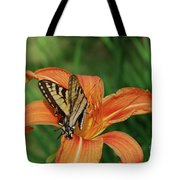 Pretty Orange Lily With A Butterfly On It's Petals Tote Bag