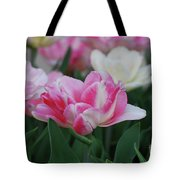 Pretty Pink And White Striped Ruffled Parrot Tulips Tote Bag