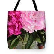 Pretty Pink Peonies In Ball Jar Vase Tote Bag