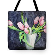 Pretty Pink Tulips Tote Bag by Dee Carpenter