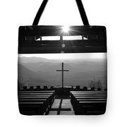 Pretty Place Aka Fred W. Symmes Chapel Black And White Tote Bag