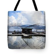 Priest Lake Boat Dock Reflection Tote Bag