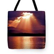 Priest Lake Sunset Heavenly Light Tote Bag