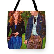 Prince William And Kate The Young Royals Tote Bag by Carole Spandau