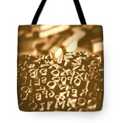 Print Industry Typographic Letters And Numbers Tote Bag
