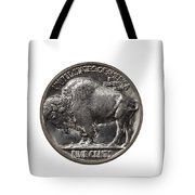 Pristine Buffalo Nickel On White Background  Tote Bag