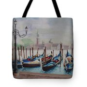 Parking Gondolas In Venice Tote Bag by Charles Hetenyi
