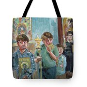 Procession With Icons Tote Bag