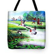 Artistic Painting Photo Flying Bird Handmade Painted Village Art Photo Tote Bag