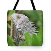 Profile Of A Gray Iguana Perched In A Bush Tote Bag