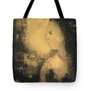 Profile Of A Woman With Flowers Tote Bag