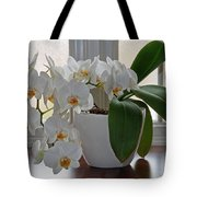 Profusion Of White Orchid Flowers Tote Bag