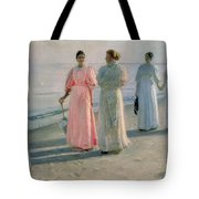 Promenade On The Beach Tote Bag by Michael Peter Ancher