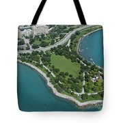 Promontory Point In Burnham Park In Chicago Aerial Photo Tote Bag