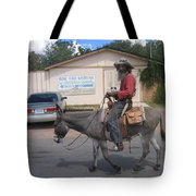 Prospector Re-enactor With Burro Passing Rose Bush Museum Sign Tombstone  Arizona 2004 Tote Bag