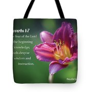 Proverbs One Seven Tote Bag