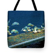 Psychedelic Gulls Tote Bag