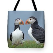 Puffin Couple Tote Bag