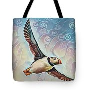 Puffin During Sunrise Tote Bag