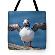 Puffin With Fish For Tea Tote Bag