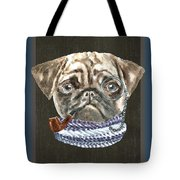 Pug Monacle Scarf Pipe Dogs In Clothes Tote Bag