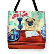Pug Scholar Tote Bag