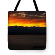Puget Sound Olympic Mountains Sunset Tote Bag