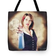 Pump Action Pin Up Woman Killing Glass Grime Tote Bag