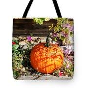Pumpkin And Flowers Tote Bag