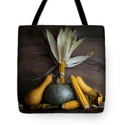 Pumpkin, Corncob, Autumn Leaves And Burning Candles Decoration O Tote Bag