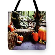 Pumpkins On Porch Tote Bag